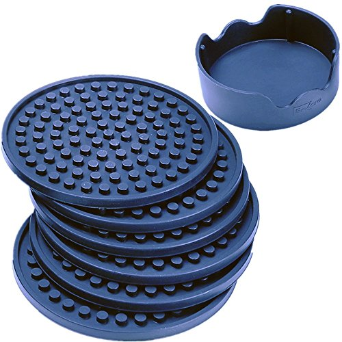 Enkore Drink Coasters Silicone Set of 6 (Dark Indigo) With Holder - Stay Put With No Slipping, Large Size Deep Condensation Trap - Friendly to All Table Types and Kid Safe