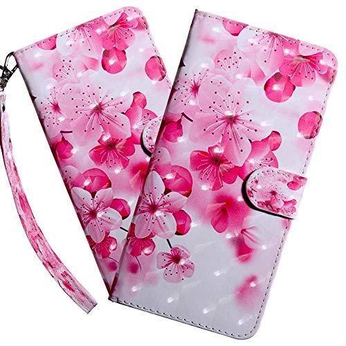 HMTECH LG K50 Hülle,Für LG Q60 / LG K50 Handyhülle 3D Rosa Kirschblume Blumen Flip Hülle PU Leder Cover Magnet Schutzhülle Tasche Ständer Handytasche für LG Q60 / LG K50,BX Cherry