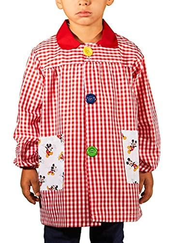 KLOTTZ MICKEY - Babi guardería con bolsillos de tela MICKEY. Bata colegio de manga larga Niñas color: ROJO talla: 4