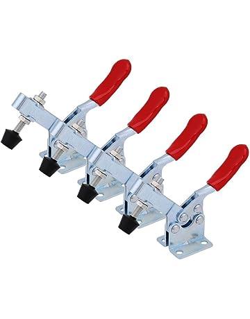 Kafuty 4 Pezzi Quick Release Toggle Clamp GH 201B Toggle Morsetto con Impugnatura Antiscivolo Rosso 90 kg capacit/à di Tenuta Morsetti a Leva Orizzontale Attrezzo a Mano per Impieghi Gravosi