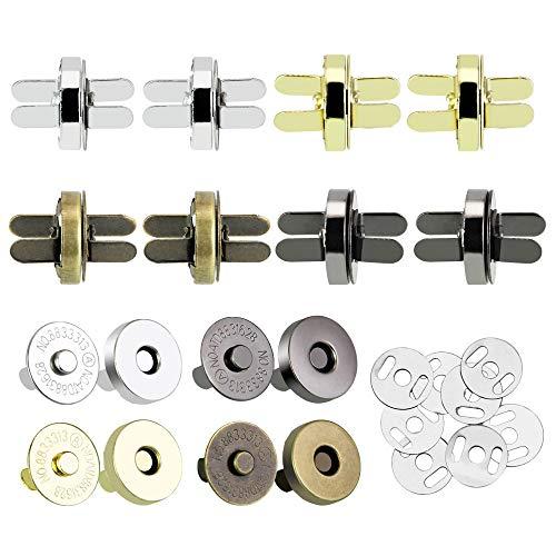 XAVSWRDE 40 Pcs Magnet Knopf Set Magnetische Druckknöpfe 14mm Magnetische Knopf Magnetverschluss zum Nähen, Stricken, für Handarbeiten, Handtaschen, Taschen(4 Farben)