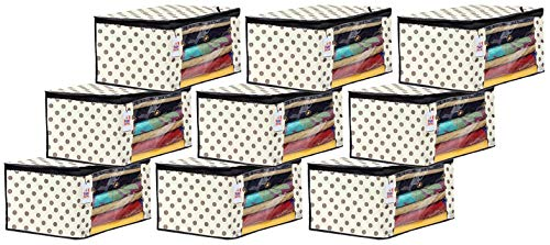 Fun Homes Polka Dots Printed 9 Pieces Non Woven Fabric Saree Cover/Clothes Organiser for Wardrobe Set with Transparent Window, Extra Large (Ivory)