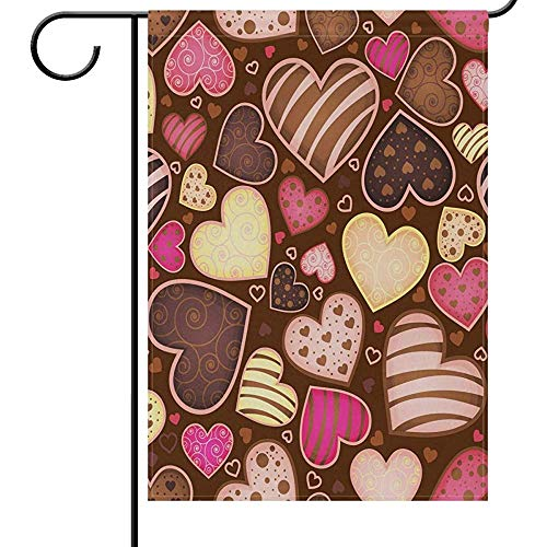 KL Decor Outdoor Yard Flag,Chocolade Truffel Snoep Zoet Hart Liefde Creatieve Huis Tuin Banners Voor Huis Tuin Party