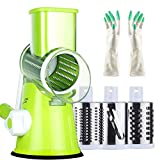 STARPIA Mandoline Vegetable Slicer, Multi-Function Manual Vegetable Fruit Cutter, Rotary Cheese Grater Chopper with 3 Ultra Sharp Stainless Steel Blades & Guantes for Grinding Cutting Silk Slicing
