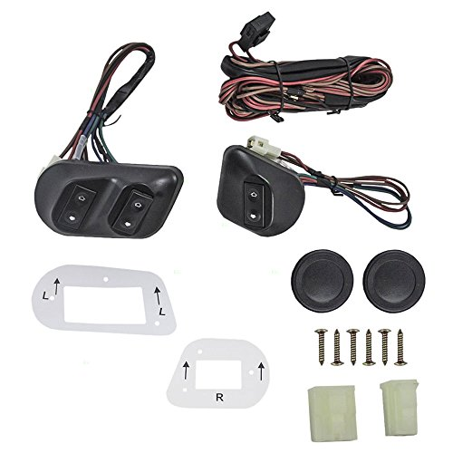 Universal Joker Style Electric Power Window Roll Up Switch Kit Angled Design with Bezels, Switch & Wiring Harness for 2-Door Models