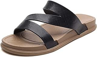 QinMei Zhou Summer Beach Slipper for Men Outdoor Water Slip on Sandal Microfiber Leather Antislip Outsole Open Toe (Color : Black, Size : 7.5 UK)