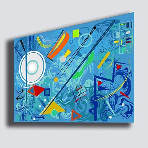 Kandinsky modernes Bild, Stil 50 x 70 cm, Zusammensetzung Blau abstrakt, Rekonstruktion Druck auf Leinwand Schlafzimmer Canvas große moderne Bilder abstrakte Kunst Küche Wohnzimmer