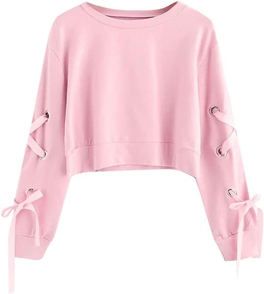 Miuye Yuren Women Casual Lace Up Crop Top Sweatshirt Fashion Female Long Sleeve Hoodies Pullover