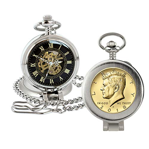 Reloj de bolsillo con mecanismo de esqueleto, con capas doradas, moneda estadounidense genuina, lupa, caja plateada, certificado de autenticidad
