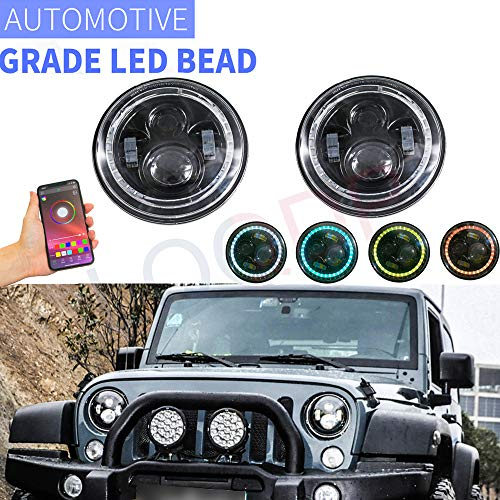 """LQQDP 2pcs 7"""" Round RGB Multi Color DRL Amber Turn Signal White High/Low Beam LED Halo Projector Headlights Assembly+Bluetooth Controller+Canbus+H4/H13 Adaptor Compatible with 97-18 Wrangler TJ/LJ/JK"""