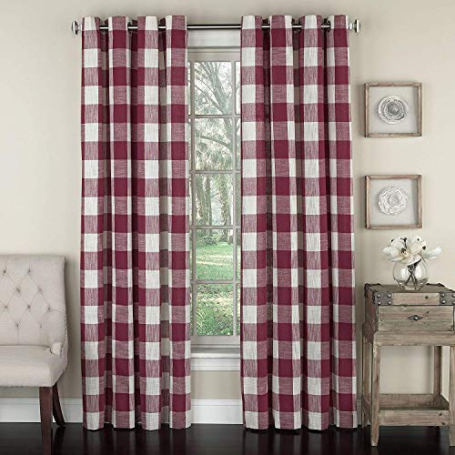 """Lorraine Home Fashions 09570-84-00148 RED Courtyard Grommet Window Curtain Panel, Red, 53"""" X 84"""""""