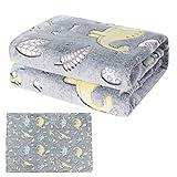 Dinosaur Blanket Glow in The Dark - Soft Kids Blanket for Boys and Girls, Plush Fleece Dino Blanket Throw for Jurassic Fans, Birthday Gift, 50x60 Inches, Grey