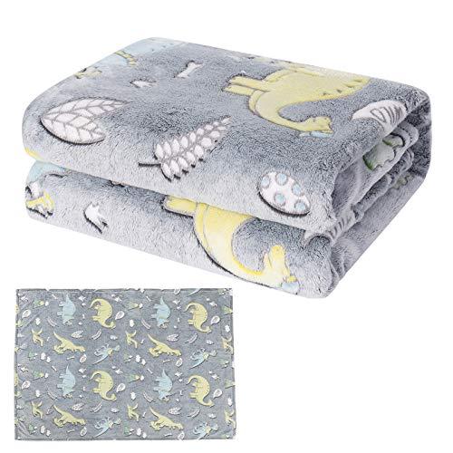 Dinosaurier-Decke, leuchtet im Dunkeln, weiche Kinderdecke für Jungen & Mädchen, Plüsch-Fleecedecke, Überwurf für Jurassic-Fans, Geburtstagsgeschenk, 127 x 152 cm, grau