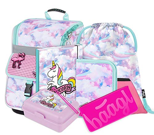 Schulranzen Mädchen Set 6 Teilig - Zippy Schultasche ab 1. Klasse - Grundschule Ranzen mit Brustgurt - Ergonomischer Schulrucksack (Regenbogen)