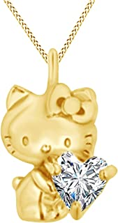 AFFY Heart Cut Cubic Zirconia Hello Kitty Charm Pendant Necklace in 14K Yellow Gold Over Sterling Silver
