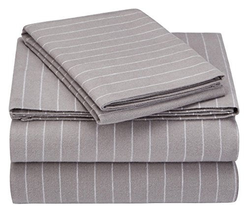 Pinzon 160 Gram Pinstripe Flannel Cotton Bed Sheet Set, Twin XL, Grey Pinstripe