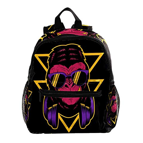 Grundschule Backpack Gorilla Sonnenbrille Headset Büchertaschen Ästhetischer Dekor Schulrucksack mit Taschen Personalisierter Rucksack für Schulkinder 25.4x10x30 cm