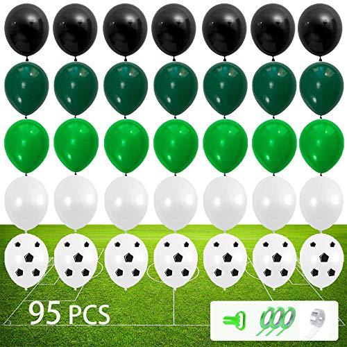 95 Stück Fußball Party Zubehör, Luftballons Grün Schwarz Weiß,Fußballspieldekoration,Fußball Ballons Deko,Grünes Sport-party,Fußball Thema Luftballons für Kinder,Jungen,Fußballfan-Geburtstagsfeier