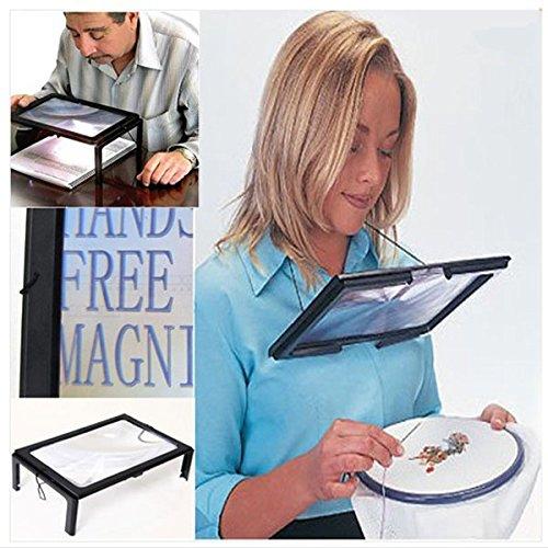 Bluelover LED A4 Pagina Mani Grandi Magnifier Libero 3 X di Ingrandimento Lettura & Cavo