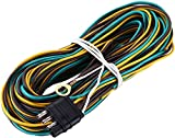 Miady 25ft Trailer Wiring Harness with 4 Flat Connector, 18 AWG Color Coded Wires Trailer Light Wiring Harness Extension with 4ft White Ground Wire
