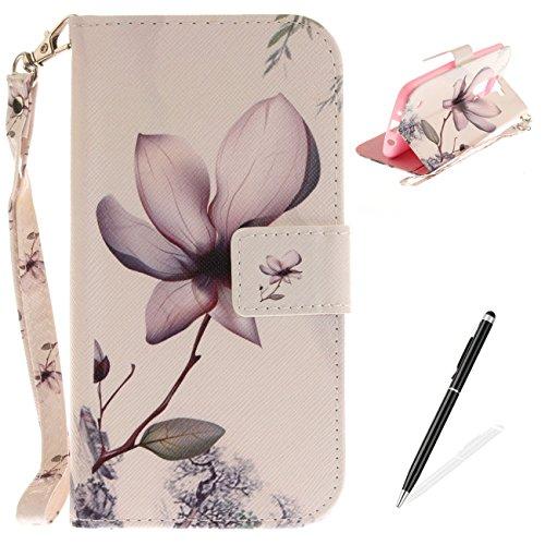 MAGQI Etui LG K8 Premium Flip PU Cuir Portefeuille Housse,avec Fonction Stand Fente pour Carte Antichoc Anti-Rayures Bumper Coque Case Cover + Stylet Gratuit - Fleur Mauve