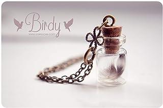 Piccola piuma bottiglia collana, collana flacone in vetro, collana carina, bottiglia piccola collana, collana piuma, fiala...