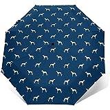 Paraguas de Viaje de Perro Galgo Azul Marino Paraguas de Sol-Paraguas de Protector Solar Ligero a Prueba de Viento-Botón de Apertura y Cierre automático