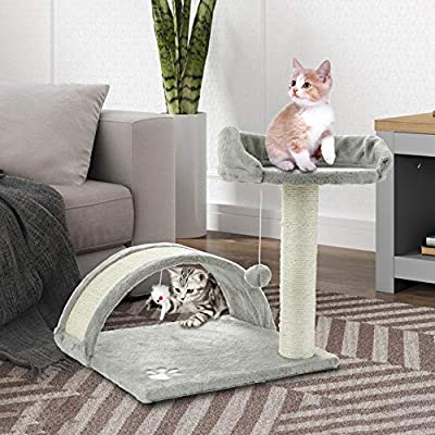 ScratchMe Cat Tree Condo with Scratching Post, Cat Tower Pet Play House with Toy, Grey