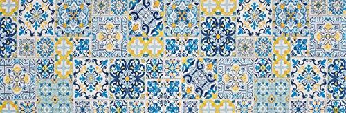HomeLife Tappeto Cucina Antiscivolo Piastrelle 58X190 Made in Italy | Passatoia Corridoio Moderna in Ciniglia Fantasia Blu e Gialla | Tappeto Runner Lungo Colorato [58X190]
