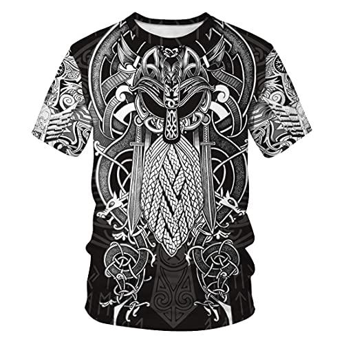 XBOMEN Jersey Suelto Quake Viking con Capucha, Suéter De Mitología Nórdica De Harajuku Impreso En 3D for Hombre, Sudadera for Hombre, Abrigo De Gran Tamaño (Color : Shirt, Size : S)