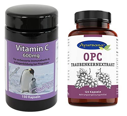 Robert Franz Vitamin C Spezial 600 (150 Kapseln) und Ayursana OPC Traubenkernextrakt (120 Kapseln)