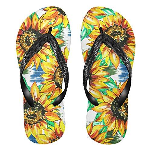 Linomo Chanclas para hombre y mujer, con diseño de flores y girasoles, para verano, para la playa, color Multicolor, talla 37/38 EU