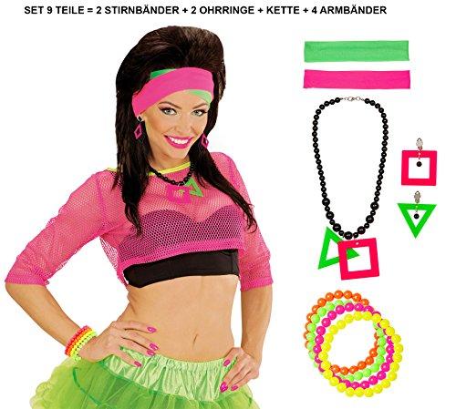 Panelize® 80er Jahre Set 9teilig Neon 2 Stirnbänder Halskette 2 Ohringe und 4 Armbänder Perlen