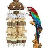 Juguete de aves, grandes bloques de madera natural Pájaro Pájaro Pájaro Juguete Parrot Juguete Loro Mordida Trajes de juguete for Cacatúa Gris Africano Loros Amazonas Ett Aves grandes Pájaros Parrot