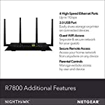 NETGEAR Nighthawk X4S Smart WiFi Router (R7800) - AC2600 Wireless Speed (up to 2600 Mbps) | Up to 2500 sq ft Coverage… 8 Fast wifi performance: Get up to 2500 square feet wireless coverage with AC2600 speed (Dual band up to 800 + 1733 Mbps). WiFi Band-Simultaneous Dual Band WiFi - Tx/Rx 4x4 (2.4GHz)+ 4x4 (5GHz) Recommended for up to 45 devices: Reliably stream videos, play games, surf the internet, and connect smart home devices. Wired Ethernet ports: plug in computers, game consoles, streaming players, and other nearby wired devices with 4 x 1 gigabit Ethernet ports.