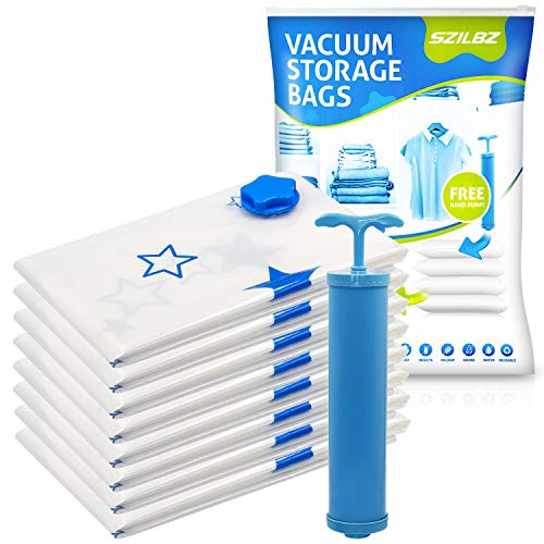 SZILBZ Vakuumbeutel (8er Set) - Groß 80x60cm – Vakuum Aufbewahrungsbeutel für Kleidung, Bettdecken, Bettwäsche und vieles mehr
