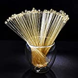 Liacere 6.5inch Gold Glitter Swizzle Sticks-Disposable Round Top Coffee Stir Sticks- Plastic Drink Stirrers,Set of 120