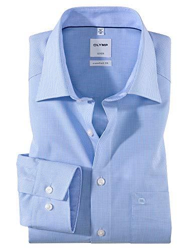 OLYMP Luxor Comfort fit Hemd Langarm New Kent Kragen Karo hellblau Größe 44