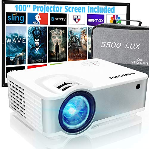 """Mini Outdoor Projector, Wevivi Movies Projector 1080P Supported with Carrying Case & 100"""" Projector Screen, 5500Lumens 240"""" Display Portable Outdoor Movies Projector,Compatible with HDMI/VGA/USB"""