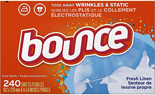 Bounce Fresh Linen Scented Fabric Softener Dryer Sheets, 240 Count (240 Count Pack of 1 New 2021)