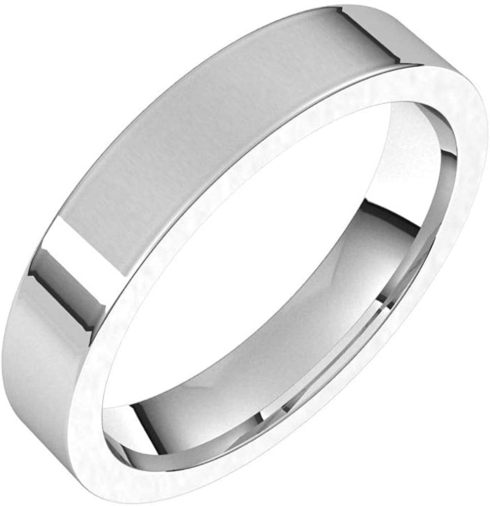 Solid 18k White Gold 4mm Flat Comfort Fit Wedding Band Ring Classic Plain Traditional - Size 7.5