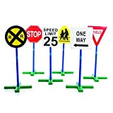 Guidecraft Drivetime Signs - Set of 6, Children's Educational Toys for Traffic Knowledge Learning, Kids Block Play