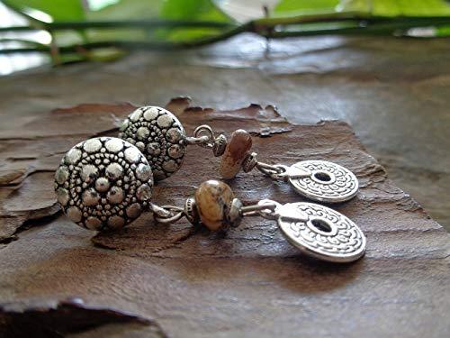 JASPIS DE PAISAJE Y COLGANTE ETHNO EN GRANDES ENCHUFES aretes únicos, hermosos y decorados con piedra y moneda perforada