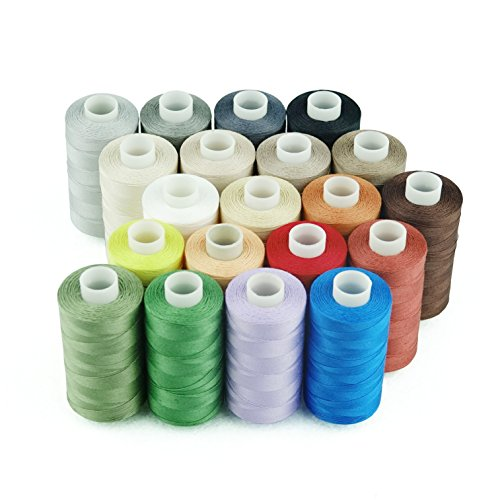 Simthread 20 Colors All Purposes Cotton Quilting Thread 50wt 3 Plies for Piecing Sewing Embroidery etc - 550 Yards Each