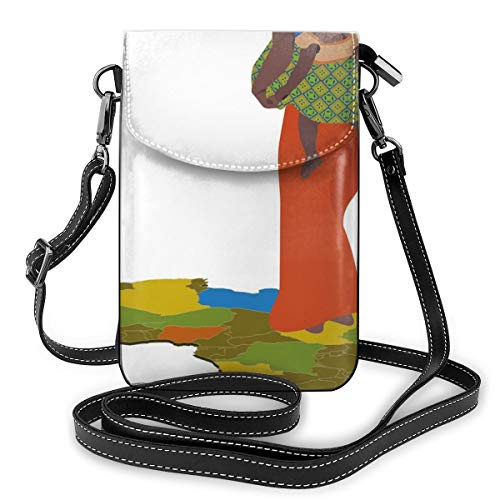 Jiger Women Small Cell Phone Purse Crossbody, moeder Carrying Baby Girl On Her Back Africa Country Culture Continent Map