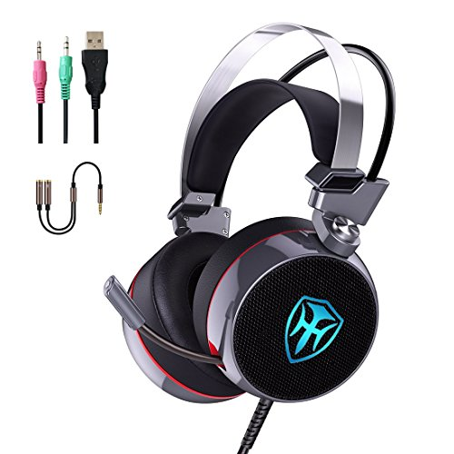 Gaming Headset for Xbox one PS4 PC, 3.5mm Wired Over-Ear Headphones with Surround Sound, Noise Cancelling, Mic, LED Lights, Volume Control for Laptop, Mac, iPad, Phone, Computer (Grey)
