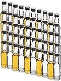 Mikken - 50 mini botellas de cristal de 40 ml con tapón de rosca, incluye embudo