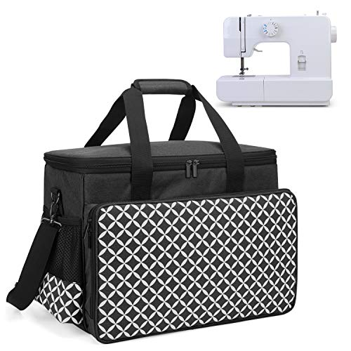 Yarwo Sewing Machine Carrying Case with Bottom Wooden Board, Universal Sewing Machine Tote Compatible with Most Standard Sewing Machine and Accessories, Black with Grid