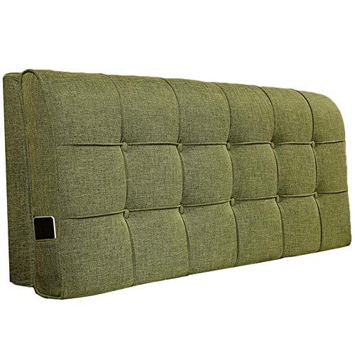 QIANCHENG-Cushion Kopfteil Rückenlehnen Bett Kissen Wedges Rückenlehne Taillenpolster Flachs waschbar Soft Case Home Sponge Rückenlehne, 4 Farben (Color : A-Green, Size : 120x60x12cm)