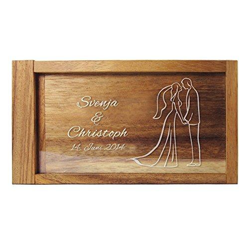 Casa Vivente Magische Geldgeschenkbox mit Gravur, Motiv Brautpaar, Personalisiert mit Namen und Datum, Verpackung für Geldscheine